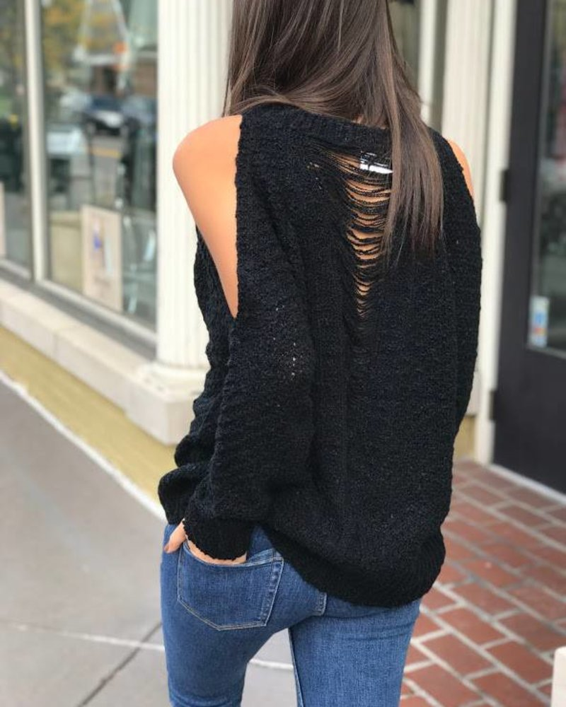 Lush Lt13021-s01 ripped back cold shoulder sweater