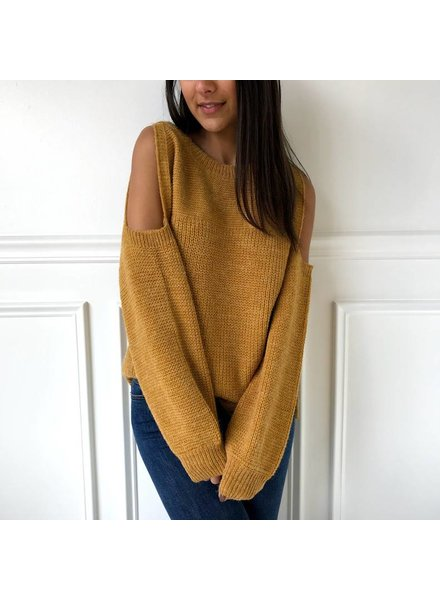 Mustard Seed t11470 coldshoulder plain sweater