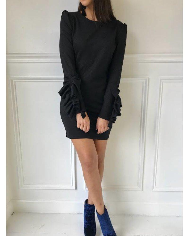 idb72165 ruffle sleeve dress