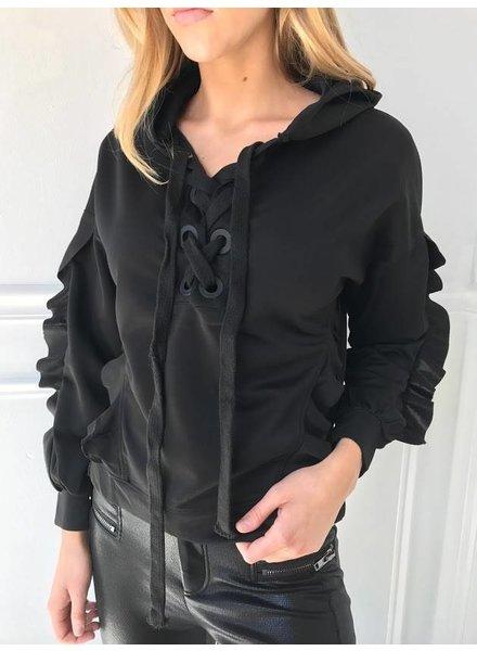 essue LT12916 ruffle sleeve hoodie