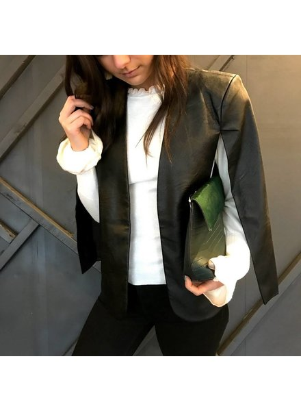Jealous Tomato JJ1418-L leather poncho