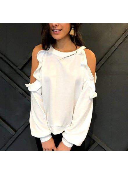 essue LT13002 cold shoulder sweatshirt