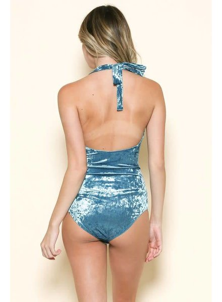 Sole Mio S7T1579N01 halter neck velvet bodysuit