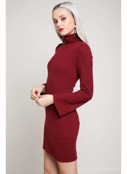 bd8780 turtleneck bell sleeve mini dress