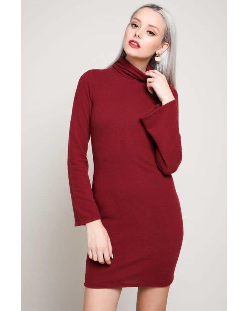 bd8780 turtleneck bell sleeve mini dress