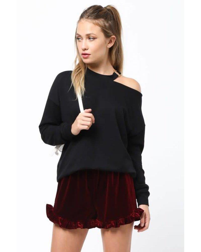 Very J vt13343 cold shoulder sweatshirt