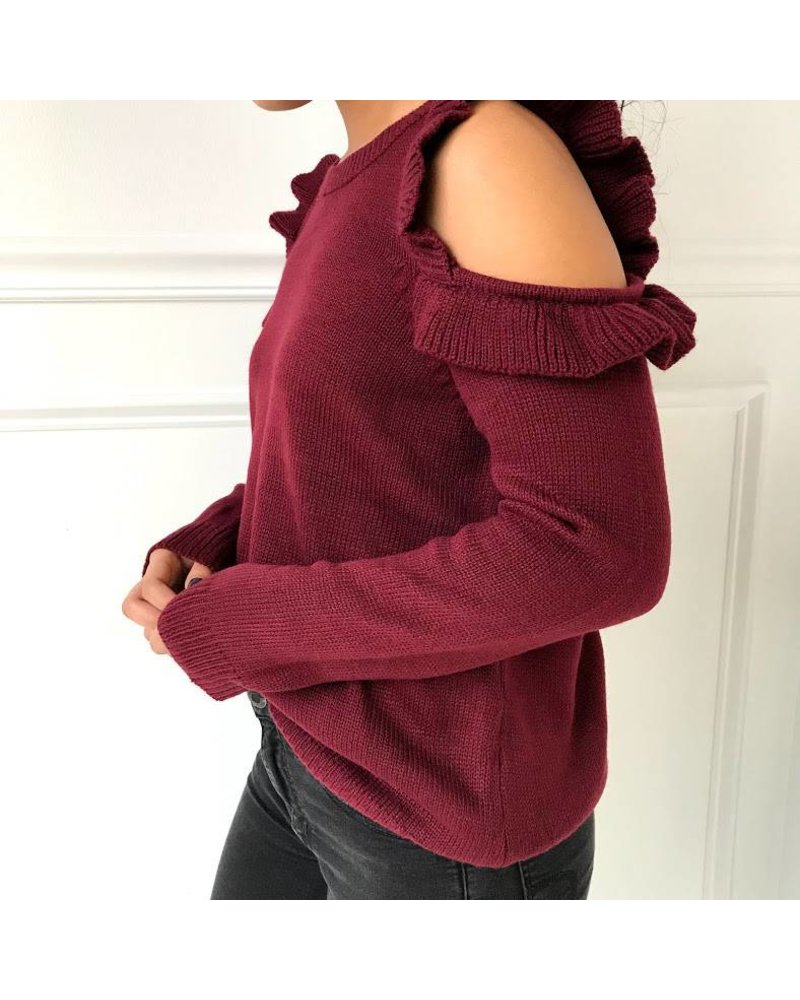 12w1146L cold shoulder sweater