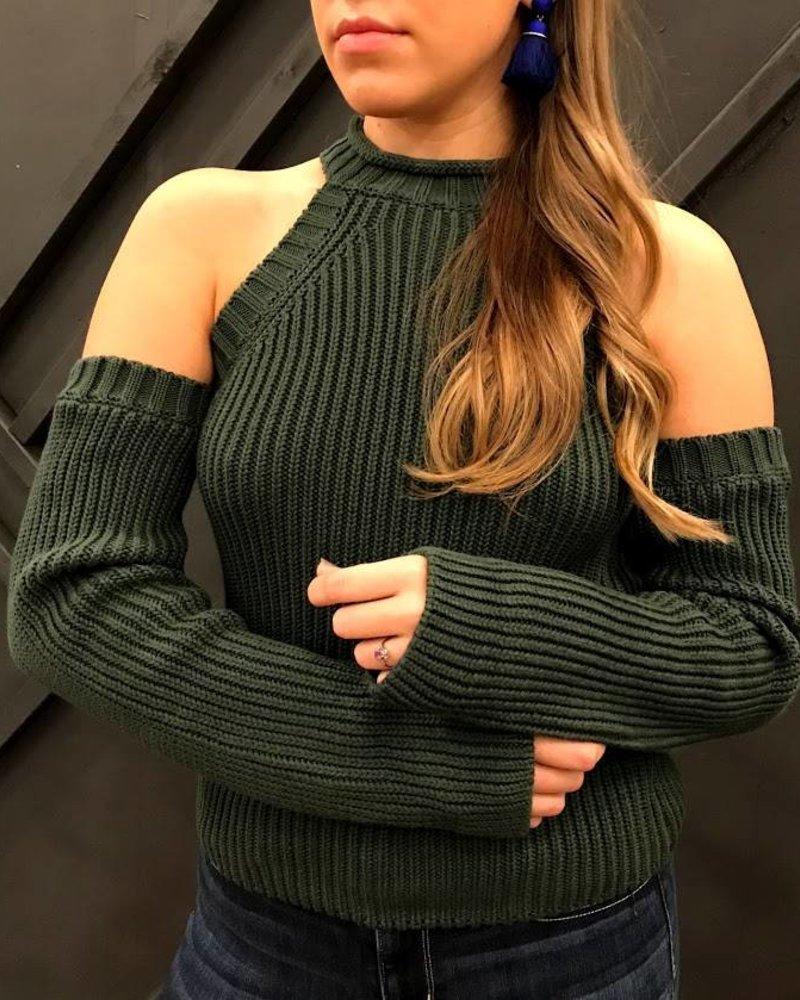 solaris 1007 coldshoulder turtle neck sweater
