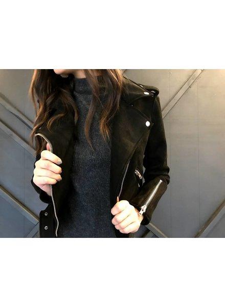 signature 8 S5169 suede moto jacket