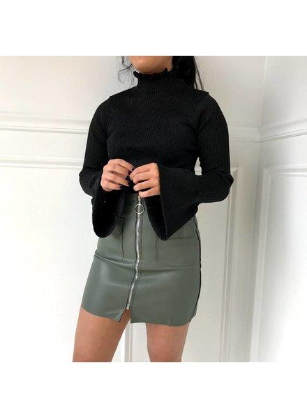 salt sk1841 full zip leather skirt
