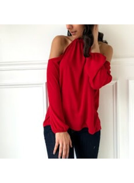 Tyche t-3498 cold shoulder blouse