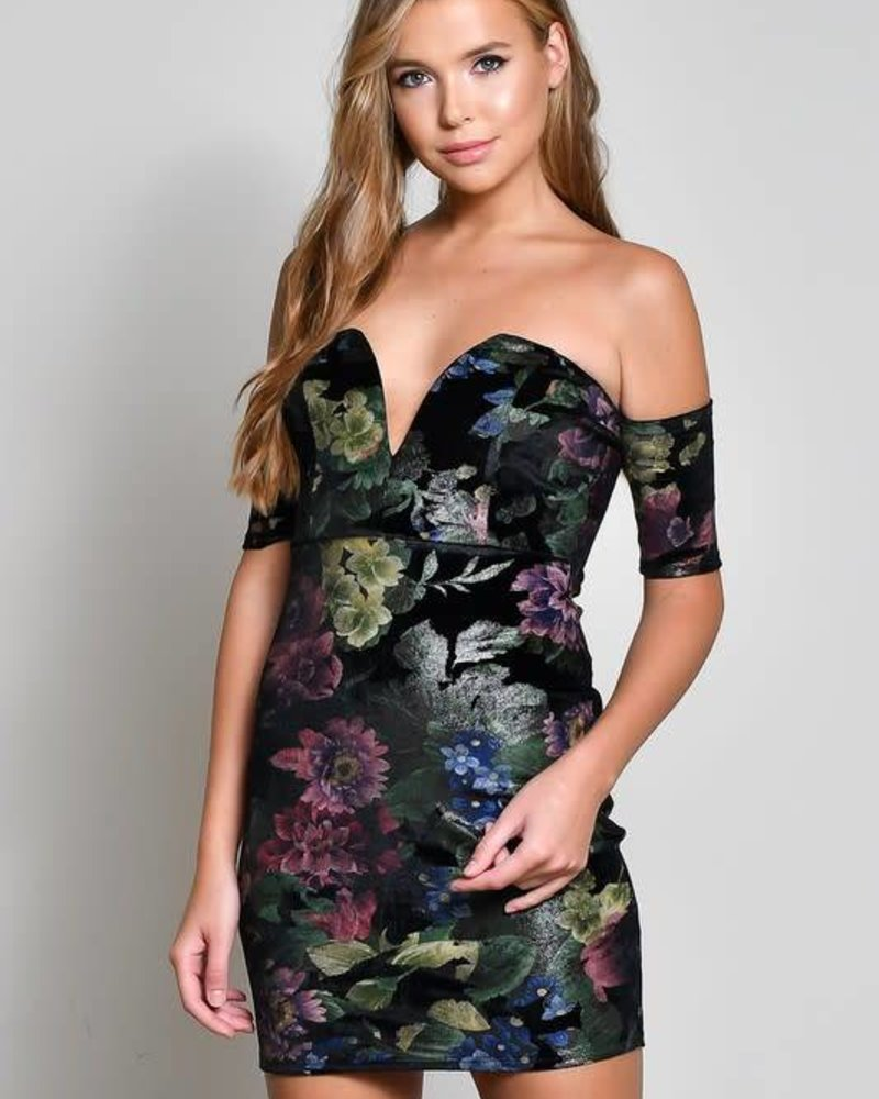 Blue Blush BD8713-1 short sleeve off the shoulder dress