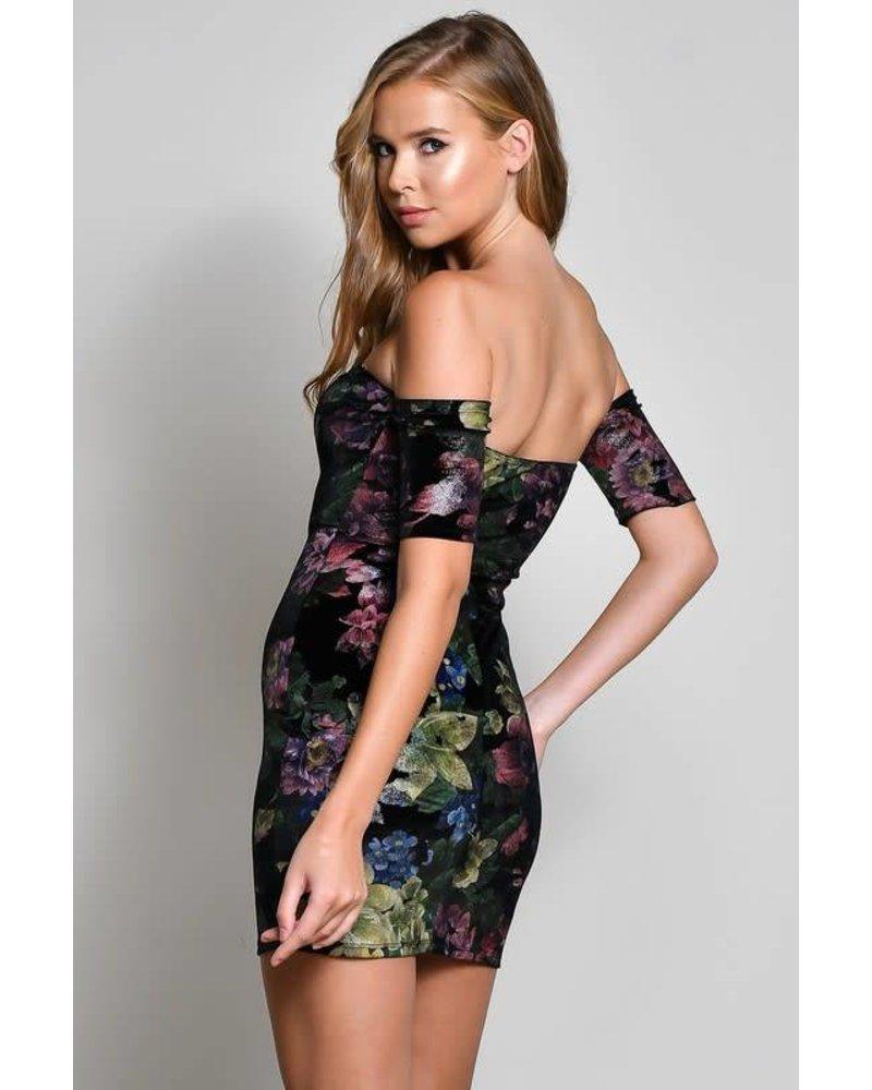BD8713-1 short sleeve off the shoulder dress