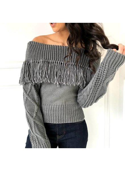 sadie & sage ACXT9025 off the shoulder fring sweater