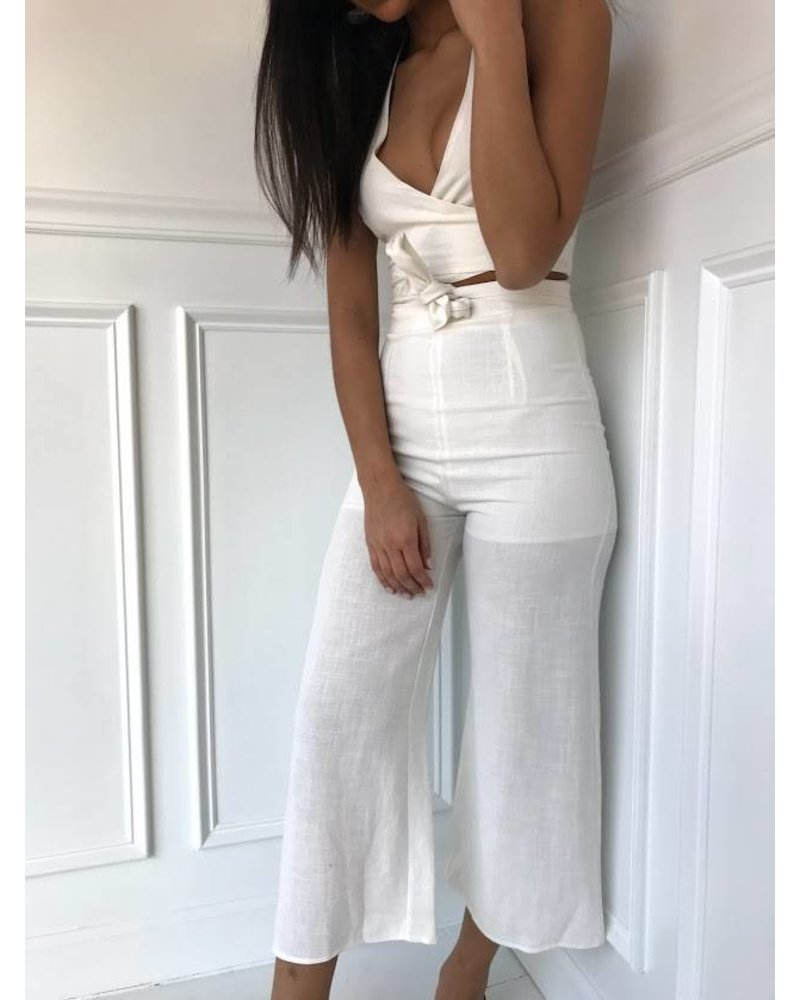 Blue Blush halter wrap crop pants set
