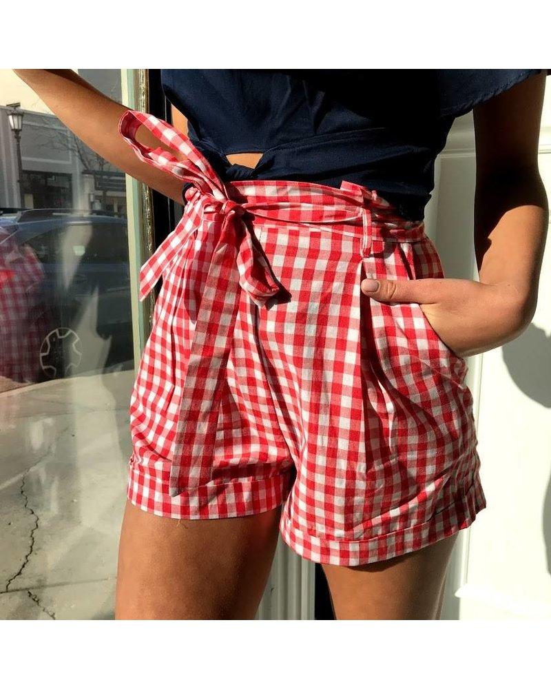 Y15175 gingham print shorts