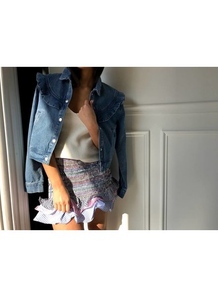 Et1043  ruffle denim jacket