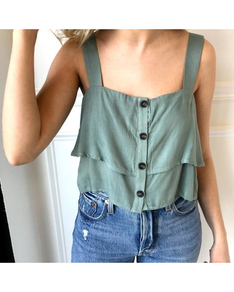 t9989 tiered button down crop top