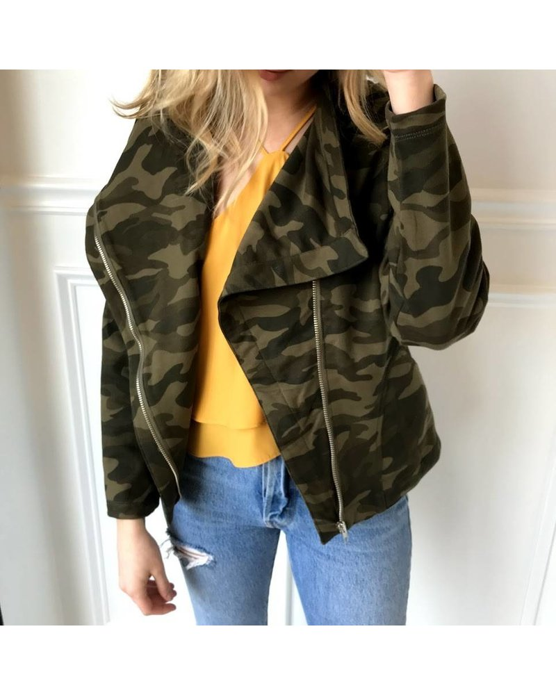 Le Lis Lt1275 open face army sweatshirt jacket