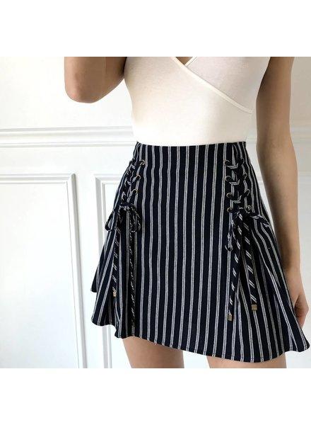 js1368 double lace up skirt