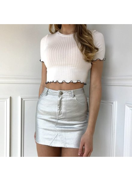 Mustard Seed S12332 silver coated denim skirt