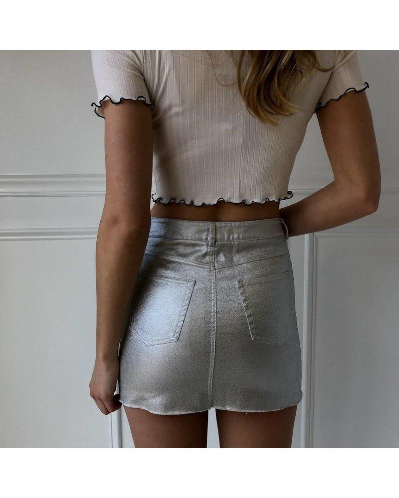 Mustard Seed S12332 silver coated denim skirt