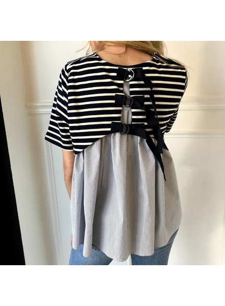 storia jt1313 layered stripe shirt with buckles