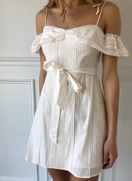 storia jd1374 eyelet cold shoulder dress