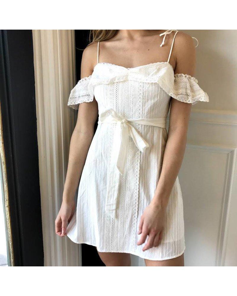 jd1374 eyelet cold shoulder dress