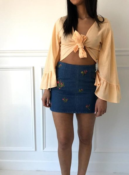 Very J vs50641 embroidered denim mini skirt