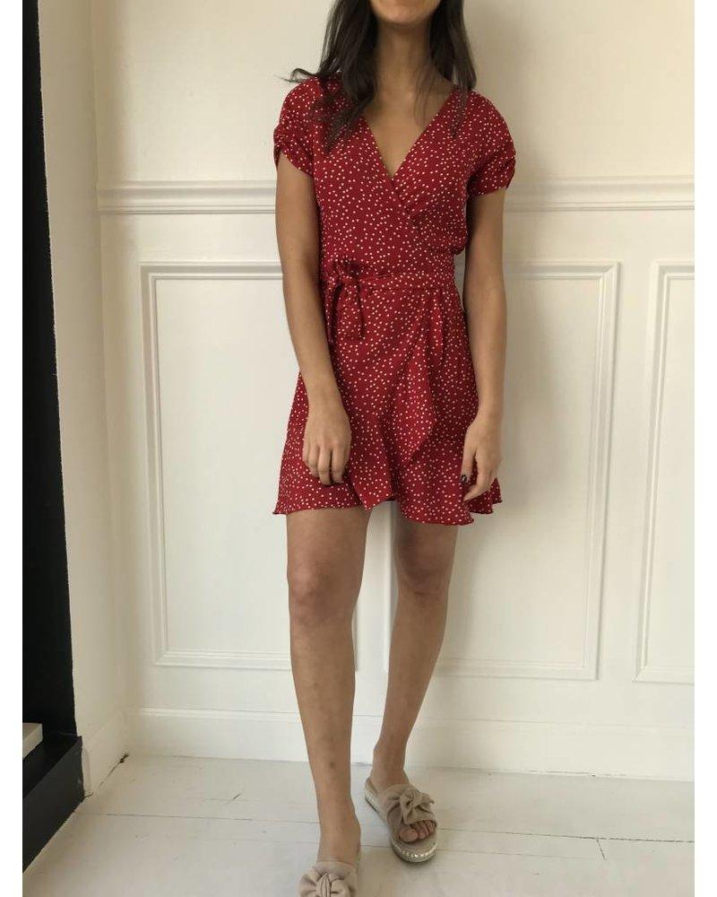 d5714 polkadot wrap dress