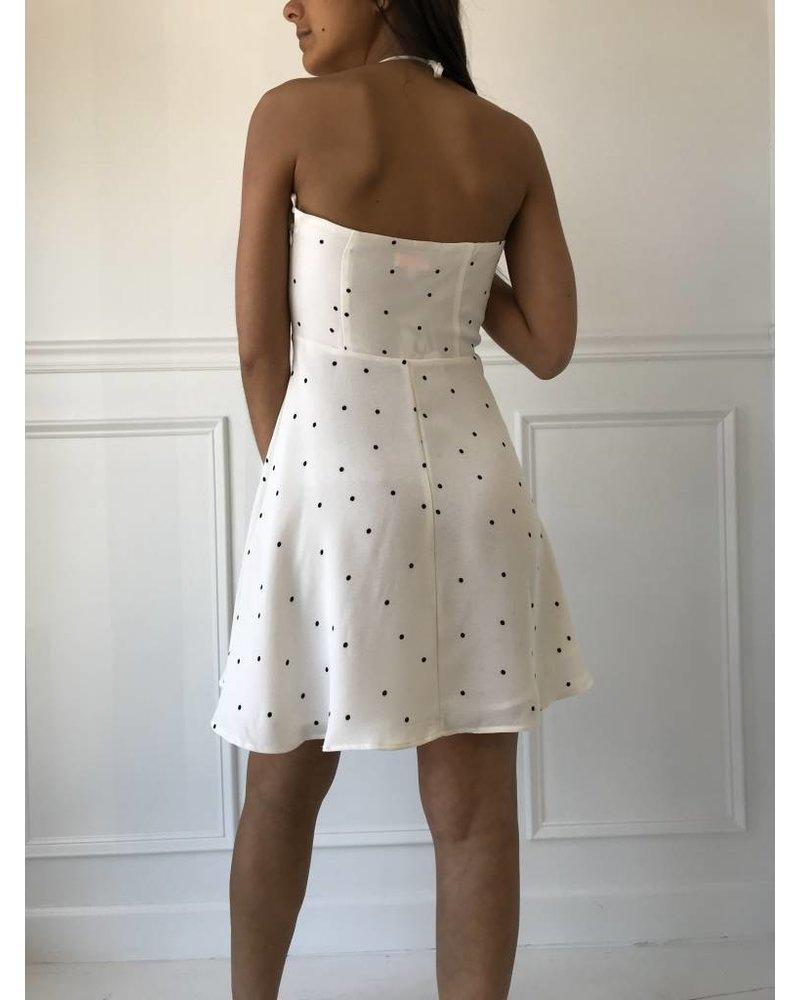 d1343 polka dot halter dress