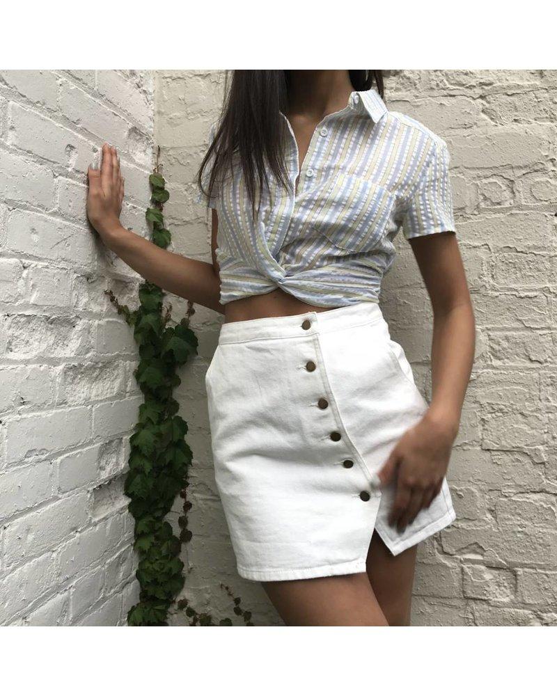 sadie & sage aska1006 button up mini skirt