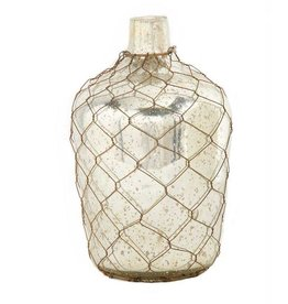 K & K Interiors, Inc. 11 Inch Vase with Wire Mesh