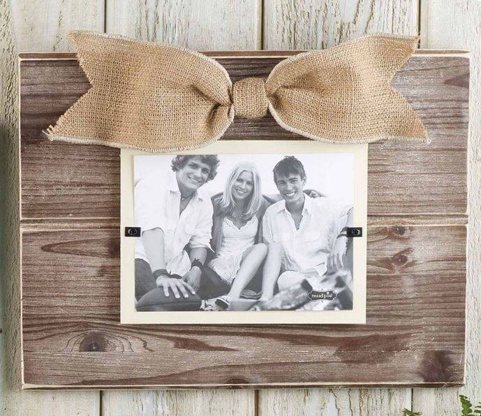Mud Pie Pine Layered Burlap Frame - Nest Feathers Gifts
