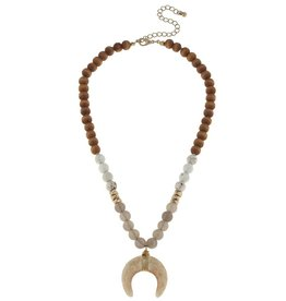 Canvas Double Horn Gemstone & Wood Necklace