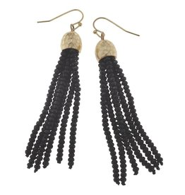 Canvas Glass Bead Tassel Earrings