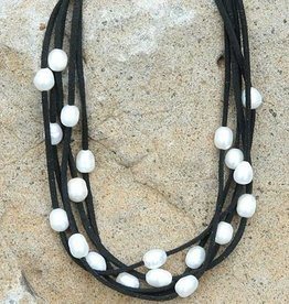 Mad Style Layered Leather & Pearl Choker