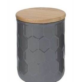 """Creative Co0 6"""" Grey Ceramic Canister w/ Wood Lid"""