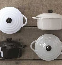 "Creative Co-Op 6"" Round Stoneware Mini Baker Dk Gry"