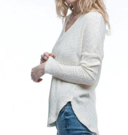 V-Neck Waffle Long Sleeve Top