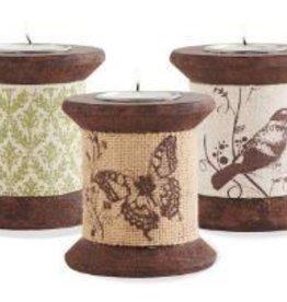 K & K Interiors, Inc. ASST Wood Spindle Tealight Hldr