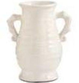K & K Interiors, Inc. Euro Ceramic Jar w/ Hndles White