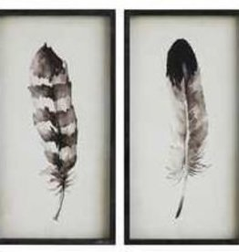Creative Co0 Feather Wood Framed Wall Decor, Assorted