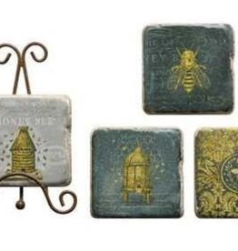 Creative Co0 Resin Bee Coasters w/ Easel