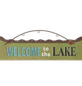 "Creative Co0 ""Welcome To The Lake"" Boat Shaped Metal Wall Decor"