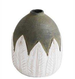 "Creative Co-Op 6"" Terra Cotta Hand Painted Vase"