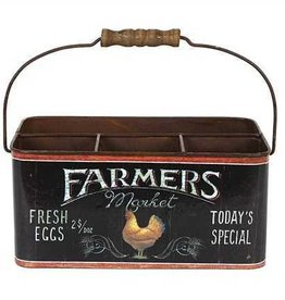 Creative Co-Op Tin Divided Bucket w/ Rooster