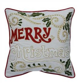 Creative Co0 Embroidered Pillow Merry