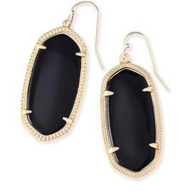 Kendra Scott Kendra Scott Elle Gold Earrings In Black Opaqe Glass